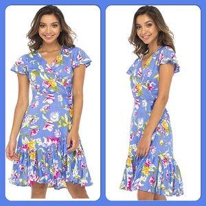 ✨Floral Deep V-neck Wrap Dress w/Flutter Sleeves.✨